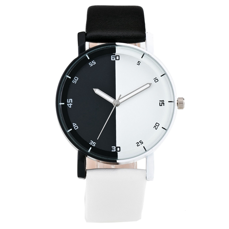 Fashion New Personality Black And White Dial Lover s Quartz Watch Women Top Brand Couple PU