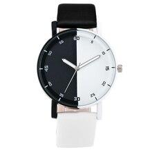 Mode Nouvelle Personnalité Noir Et Blanc Cadran Amant de Quartz Montre Femmes Top Marque Couple En Cuir PU Montre-Bracelet Reloj Mâle horloge