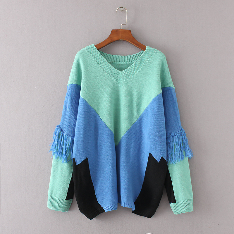 afa22236314f High quality sweater women Tassel knitting pullover European Style v-neck  loose Knitwear female bat sleeve reversible jumper