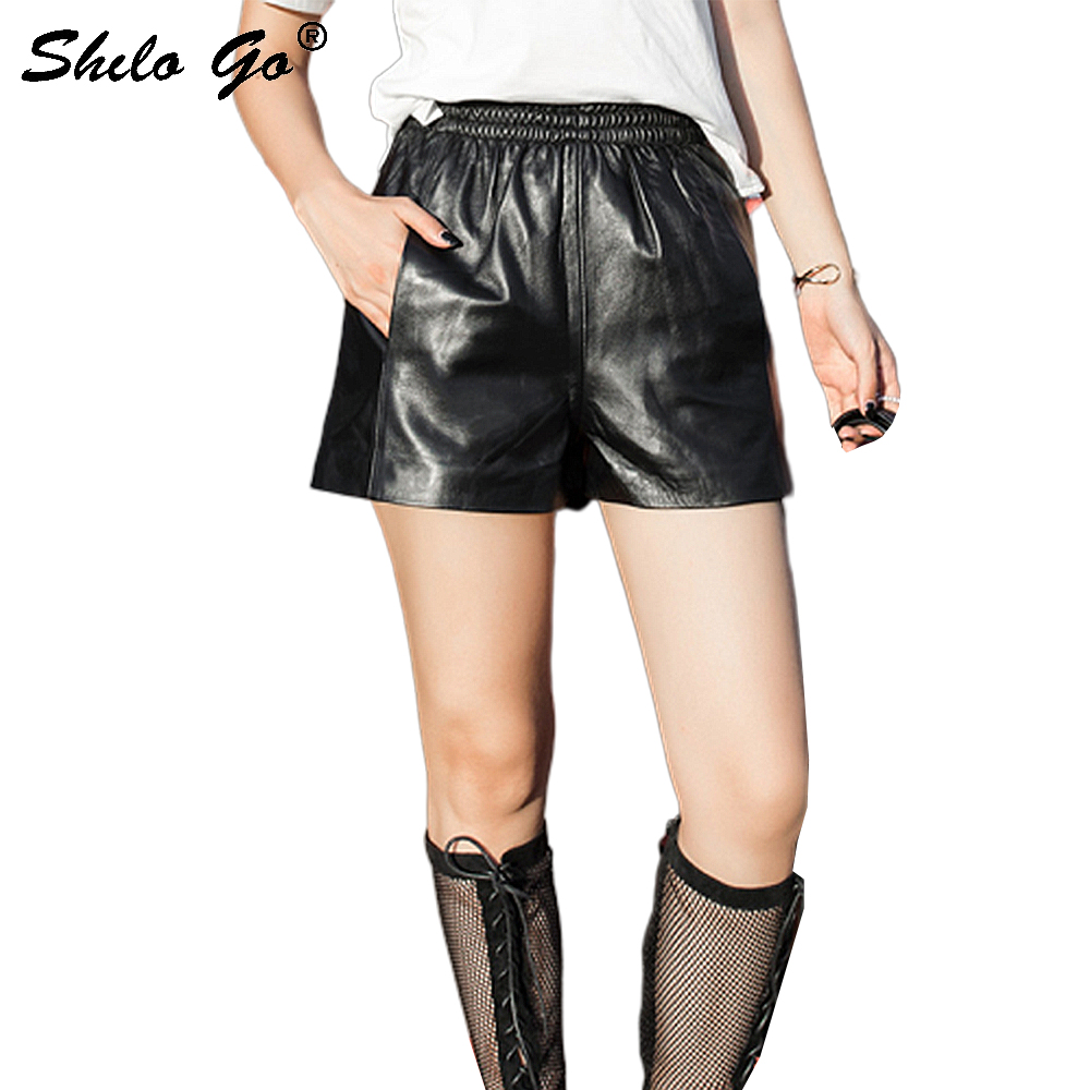 Streetwear Leather Shorts Womens Summer Casual Elastic High Waist Sheepskin Genuine Leather Shorts Casual Female Hot Shorts