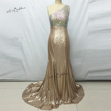 72e05fb6 Champagne Sequin Mermaid Prom Dresses 2017 Formal Evening Gowns Sexy Sparky  Backless one Shoulder Robe de