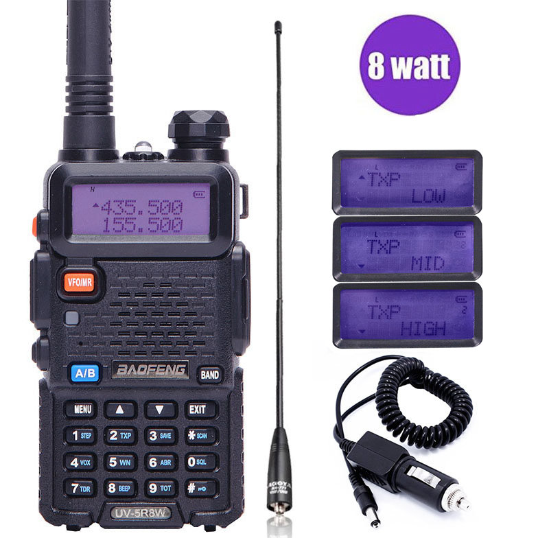 BaoFeng UV-5R 8 Watts puissant 8 w Talkie Walkie 10 km longue portée Deux voies CB portable radio jambon pofung uv5r pour chasse pêche