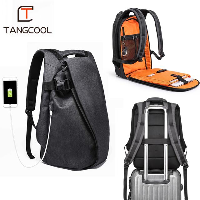 """Tangcool Fashion Men Backpack for Laptop 17.3""""USB Port Waterproof Travel Backpack Large Capacity College Student School Backpack"""