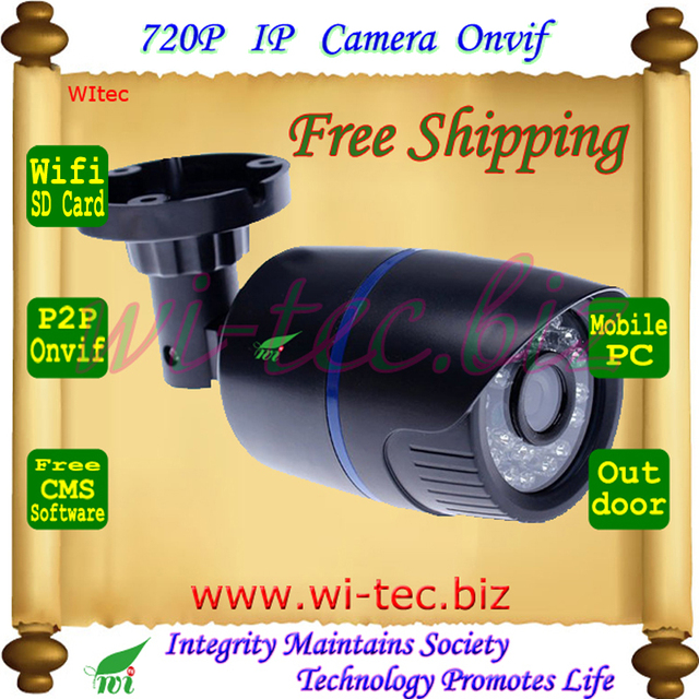 Suppor SD Card Built in WIFI 720P IR Outdoor Bullet ONVIF Security Night Vision P2P IP Cam 2MP Lens 1.0MP Network CCTV Camera
