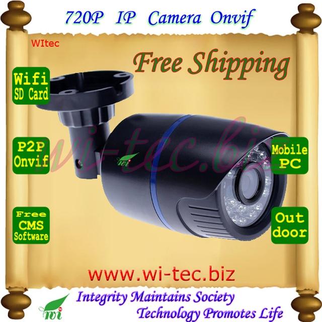 Suppor Sd Construido en WIFI 720 P ONVIF Bullet IR Al Aire Libre 1.0MP Red P2P IP Cam 2MP de La Lente de Visión Nocturna de seguridad CCTV cámara