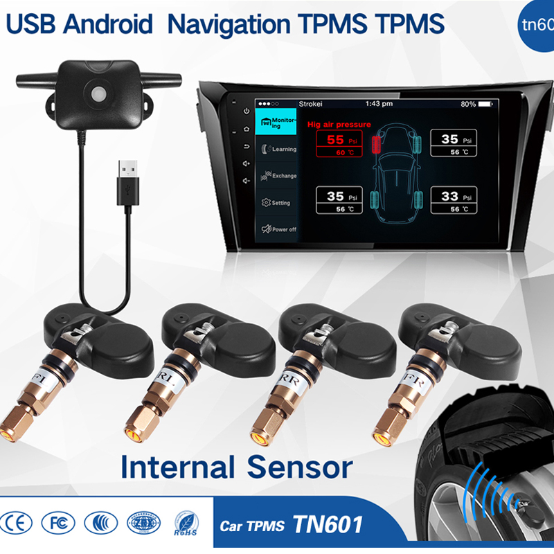 Car TPMS Tire Pressure Monitoring System for Android OS DVD Player USB Interface suit for Renault Peugeot Toyota and All Cars tpms tp620 car tire tire pressure alarm car tire diagnostic tool support bar and psi tire pressure monitor car electronics