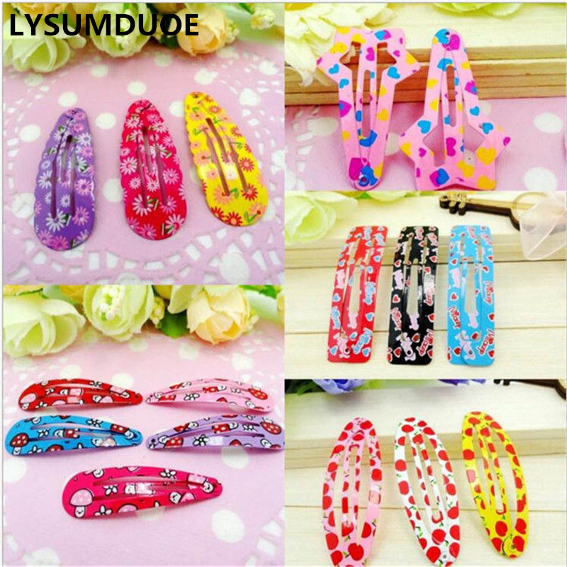 LYSUMDUOE 100pcs BB Hair Clip Fashion Hair Accessories Kids Hairpins Bow Princess Flower Accessory Barrette Cute Hairgrips Girl 10pcs snow white sofia hrief princess anna elsa hair accessories cute kids bb hair clips flower crown rim hair bows 5
