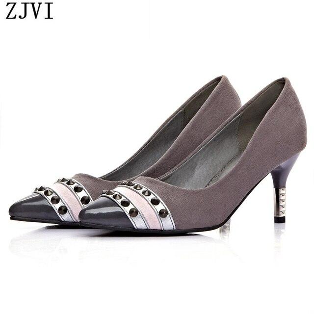 ZJVI женская мода нубука острым носом насосы заклепки тонкие высокие каблуки насосы партия обуви женщина женские женские туфли дамы работа обувь