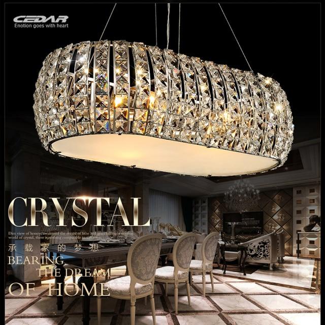 Offres spéciales lustre moderne en cristal ovale chrome suspension ...