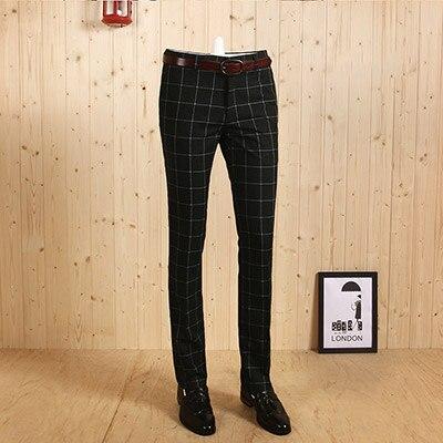 Высококачественные мужские темно-синий, фиолетовый, Зеленый Клетчатый Тонкий деловой костюм джентльмена на молнии длинные брюки Свадебные повседневные брюки жениха - Цвет: green