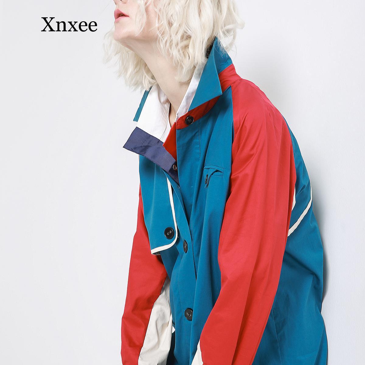 Xnxee Women   Trench   Coat Patchwork Cotton Windbreakers Long Sleeve Single Breasted Long Coat Loose Female Overcoat Autumn 2019