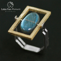 Lotus Fun Moment Real 925 Sterling Silver Natural Labradorite Creative Handmade Fashion Jewelry Rotatable Ring for Women Bijoux