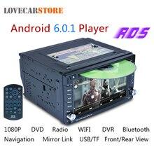 6.2 Pulgadas 2 Din 6.0.1 Android Coches Reproductor de DVD Bluetooth GPS navegación 1080 P Auto Stereo Radio FM Apoyo Frontal Vista Posterior de la Cámara