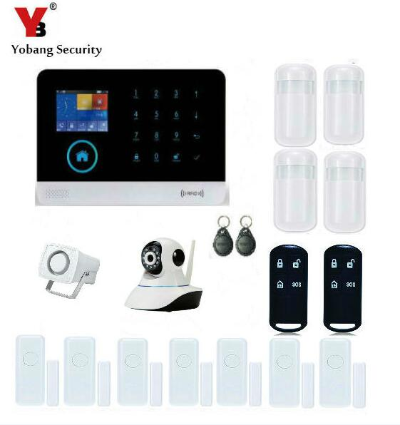 YobangSecurity Wireless Wifi RFID Gsm Home Security Alarm System Kit with Indoor IP Camera Wired Siren PIR Motion Door Sensor yobangsecurity touch keypad wireless wifi gsm home security burglar alarm system wireless siren wifi ip camera smoke detector