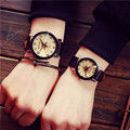 Attractive 2017 New Design Lovers Watch Women Men Leather Strap Quartz Analog Wrist Watch Watches AP 7