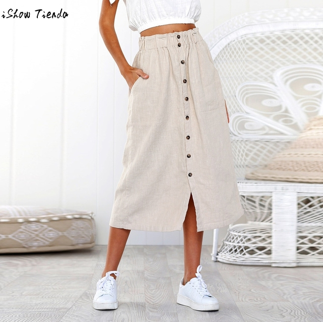 ce3db26a67370 Summer Women Linen Cotton Long Skirts Womens Daily Summer Bohemia High  Waist Button Beach Wrap Maxi Long Skirt#GHC