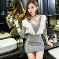 Mujeres del resorte oficina sexy vendaje de bodycon vintage dress rayas fringe mini party dress vestidos delgado cuello en v manga larga vestidos