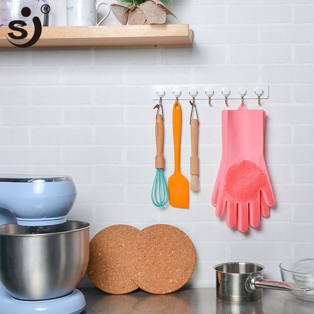 Kitchen Silicone Cleaning Gloves Magic Silicone Dish Washing Gloves Easy Household Silicone Scrubber Rubber Cleaning Gloves 5