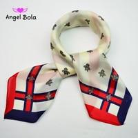 Angel Bola Bee Design Women Polyester Silk Big Square Silk Scarf 90 90cm Hot Sale Satin