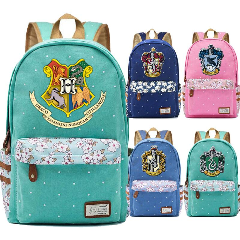 2019 New Hogwarts Slytherin Gryffindor Flowers Dot Boy Girl School bag Women Bagpack Teenagers Schoolbags Canvas Femme Backpack