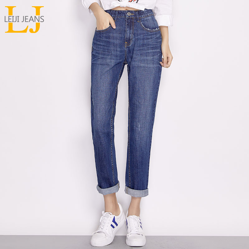 LEIJIJEANS Women Washing Low Elastic Waist Boyfriend Jeans Blue Casual Classic Ladies Plus Size Straight Denim Women Jeans 6476