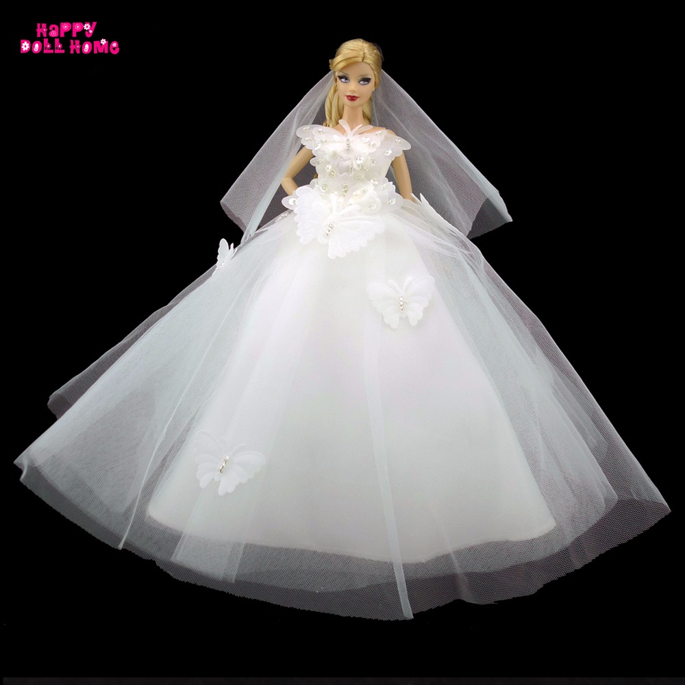 Handmade Clothes Pure White Wedding Dress With Butterfly Bridal Veil Dinner Party Costume Princess Gown For Barbie Doll FR Doll leadingstar 2017 new wedding bridal dress princess gown evening party dress doll clothes fit for barbie doll for kids gift zk30
