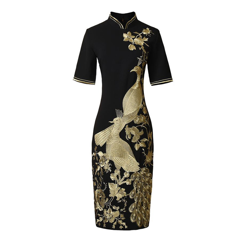 New Women Peacock Embroidery Dress Fashion Sheath Mandarin Collar Black Dresses 4184