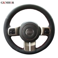 Black Genuine Leather Car Steering Wheel Cover Cover for Jeep Compass Grand Cherokee Wrangler Patriot 2012 2014 Hand stitched