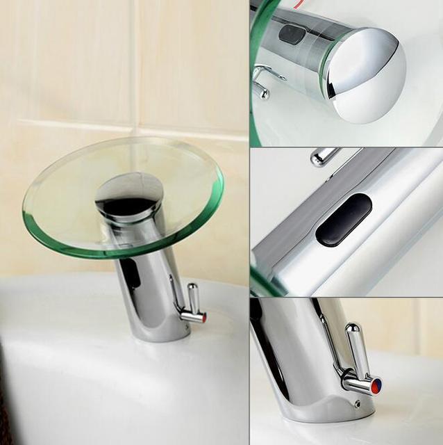 Auto Touchless Glass Waterfall Faucet Chrome Sensor Bathroom Faucet Basin  Tap Sensor Single Cold Faucet Bathroom