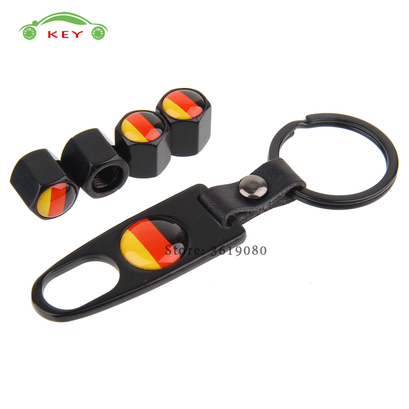 For Flag of Germany Stainless Steel Car Tire Stem Valve Caps Auto Wheel Air Covers with Keychain for VW Golf Opel LADA Volvo BMW