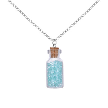 New Brand Jewelry with Silver Plated Restone Glass Wish Bottle Choker Long Pendant Necklace for Women Gift image