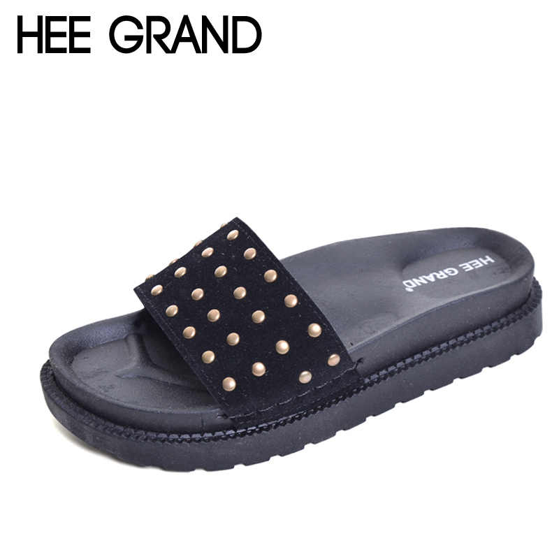 HEE GRAND 2017 Rivet Slides Casual Beach Slippers Platform Shoes Woman Slip On Outside Flats Creepers Women Shoes XWZ3975 hee grand summer gladiator sandals 2017 new beach platform shoes woman slip on flats creepers casual women shoes xwz3346