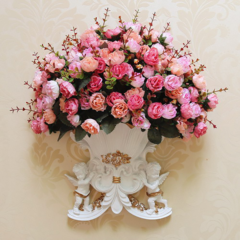 Set Of 10 Country Garden Flower Seed Wedding Favours With: 1 Set Artificial Flowers Rose European Two Angels Wall