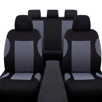 Uniwersalny 9 sztuk szary zestaw pokrowców na siedzenia samochodowe oddychający poliester dla Auto przednie tylne siedzenia zagłówki darmowa wysyłka tanie i dobre opinie FY-UU Cztery pory roku 136cm Pokrowce i podpory 0 63kg 65cm Seat Cover 136 x 78cm 29 x 32cm 2 front seat + 1 rear back + 1 rear seat + 5 headrest + 30 Hook