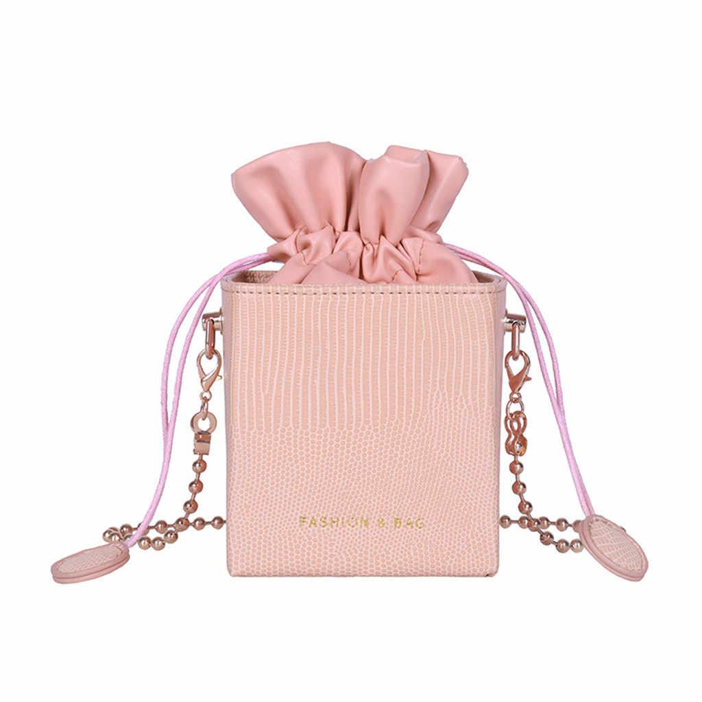 Petit seau sacs pour femmes 2019 Simple tout usage cordon chaîne unique carré épaule sacs de messager sac a main femme
