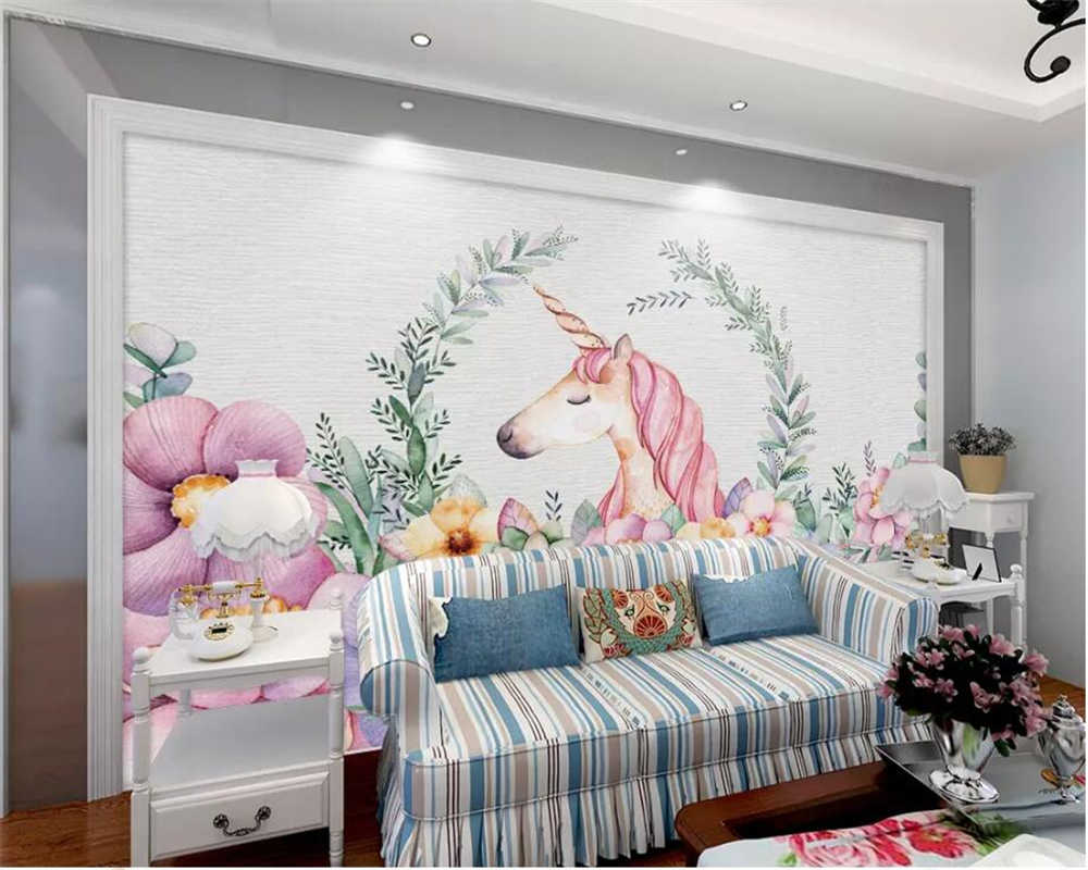 Beibehang خلفية مخصصة يونيكورن زهرة الأطفال غرفة حائط الخلفية المنزل الديكور حائط الخلفية جدارية 3d خلفيات