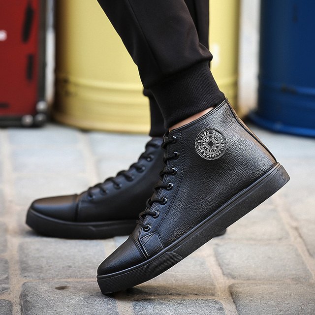size 39-44 Winter boots short  plush inside men ankle fashion boots lace up Casual solid rubber men shoes 8603