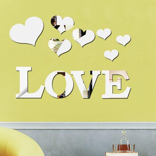 11pcs Love Heart Acrylic 3D Mirror Wall Sticker Mural Decal ...