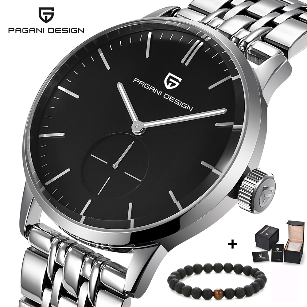 PAGAIN Design Luxury Brand men's watches simple fashion full steel quartz-watch,dress men wristwatch silver black clock male стоимость