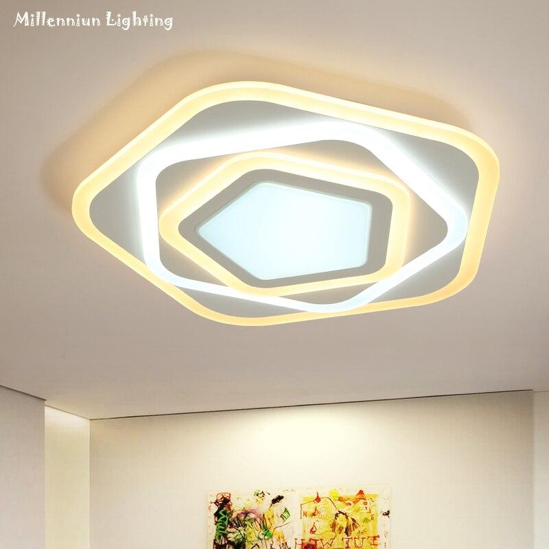 LED camera da letto apparecchi di illuminazione a soffitto Ultra-sottile pentagonale a casa al coperto Creativo Acrilico Sala da pranzo di Illuminazione AC90-260V58W bianco
