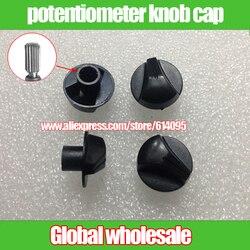 5 uds interruptor de potenciómetro tapa de perilla negra/6mm interruptor de agujeros audio volumen perilla tapa/perilla de potencia flor eje alto 14,5mm