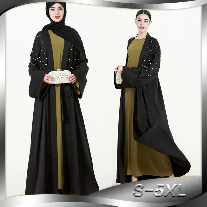 90c220cfe7c712 Beste Kopen Elegant volwassen Moslim Maxi Jurk Plus Size Abaya Trompet Mouw  Abaya Lange Gewaden Tuniek Midden oosten Arabische Turkse Islamitische  Kleding ...