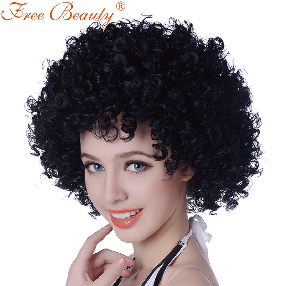 Gratis Skönhet 12 '' Cosplay Paryck Kinky Curly Party Paryk För - Syntetiskt hår