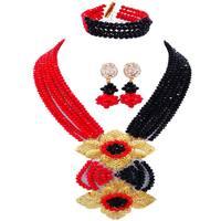 Romantic Opaque Red Black Crystal Nigeria Wedding Women Jewelry Sets 6C HL 24
