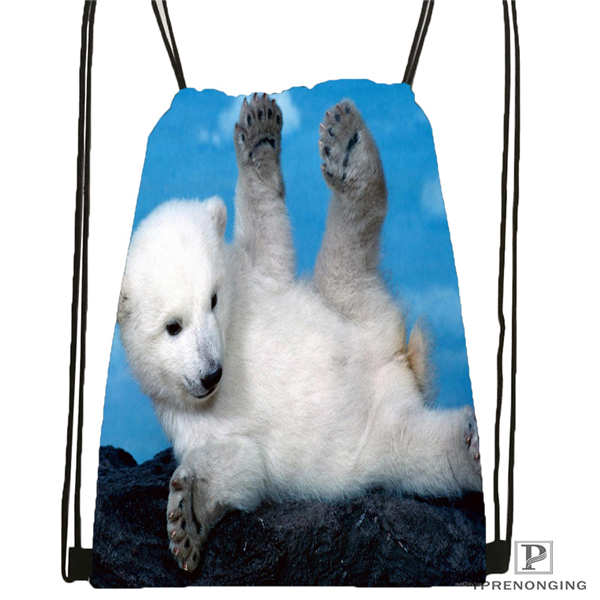 Custom Polar-bear-cubs Drawstring Backpack Bag Cute Daypack Kids Satchel (Black Back) 31x40cm#2018612-01-14