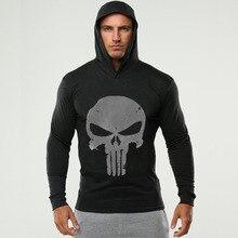New Skulls Fitness hooded t shirt men streetwear punisher bodybuilding long sleeve t shirt crossfit tshirt
