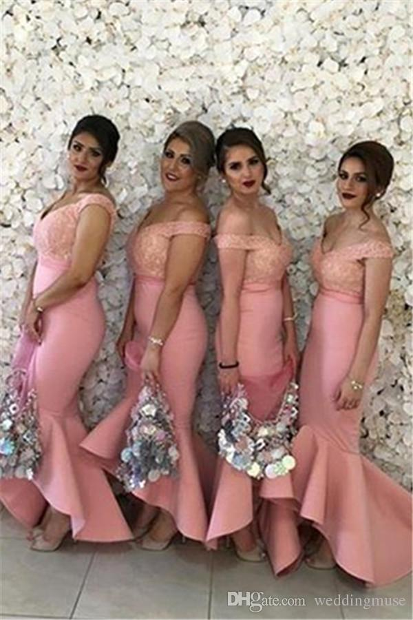 Sweetheart Off Shoulders Backless Lace Bodice High Low Dubai Ruffle Skirt party prom gown 2018 New Arabic Bridesmaids Dresses in Bridesmaid Dresses from Weddings Events