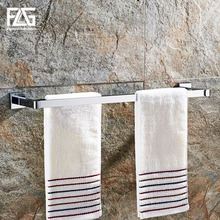 цена на FLG Towel Bars Chrome Metal 2 Rail Towel Shelf Hanger Holder Wall Mounted Towel Rack Bathroom Accessories
