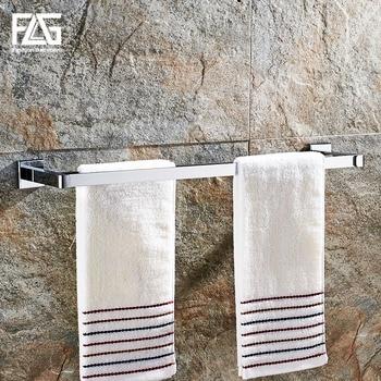 FLG Towel Bars Chrome Metal 2 Rail Towel Shelf Hanger Holder Wall Mounted Towel Rack Bathroom Accessories цена 2017