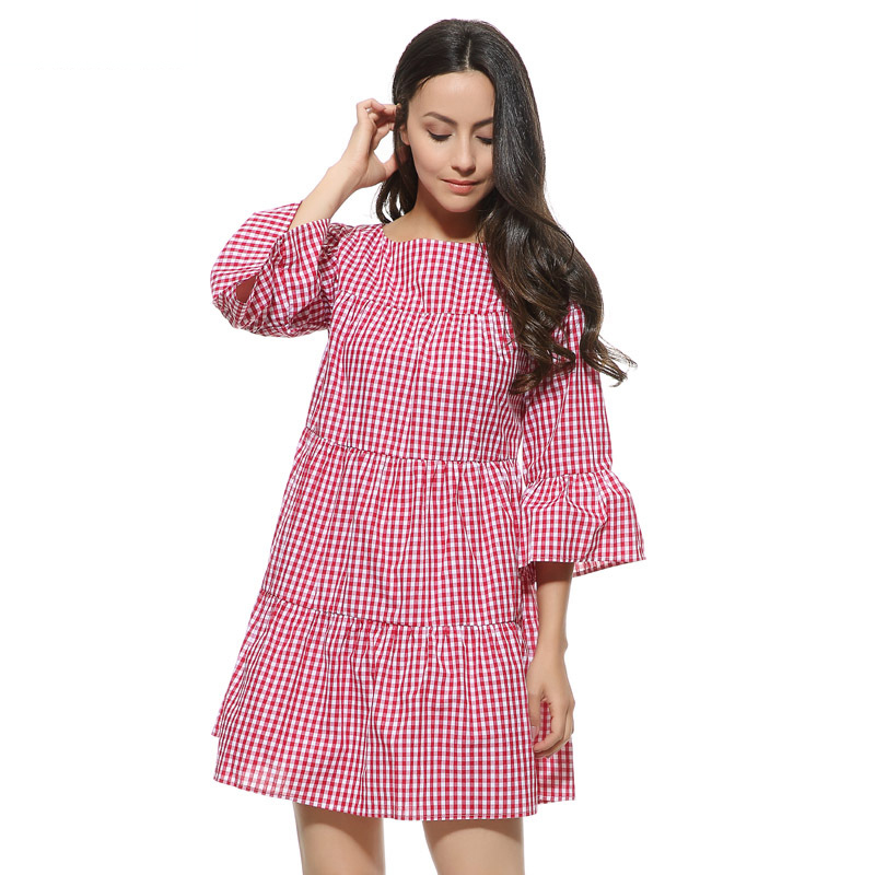 Women Oversized Pleated Plaid Dress Summer Elegant Checkered Flare Sleeve Loose Casual Sweet Dresses Vestidos A112A